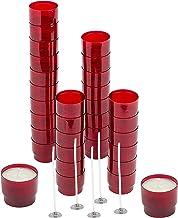 AHANDMAKER 30pcs Tasses en Plastique pour Bougies Chauffe-Plat, Récipient pour Bougies Chauffe-Plat Rond Rouge Foncé Boîte...