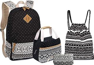 "BAGTOP School Backpack Set - Canvas Teen Girls Bookbags 15"" Laptop Backpack + Lunch Bags + Drawstring Backpack + Pen Case Bags Set (Black-6)"
