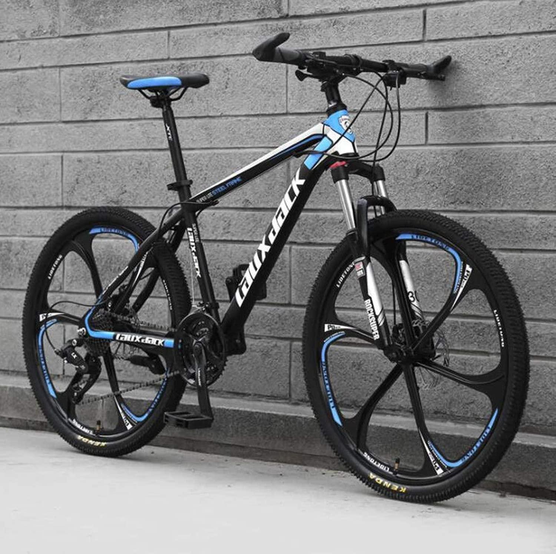 高炭素鋼のフレーム26インチアダルトマウンテンバイク、オフロードのスピード自転車 (Color : 黒 青, Size : 27 speed)