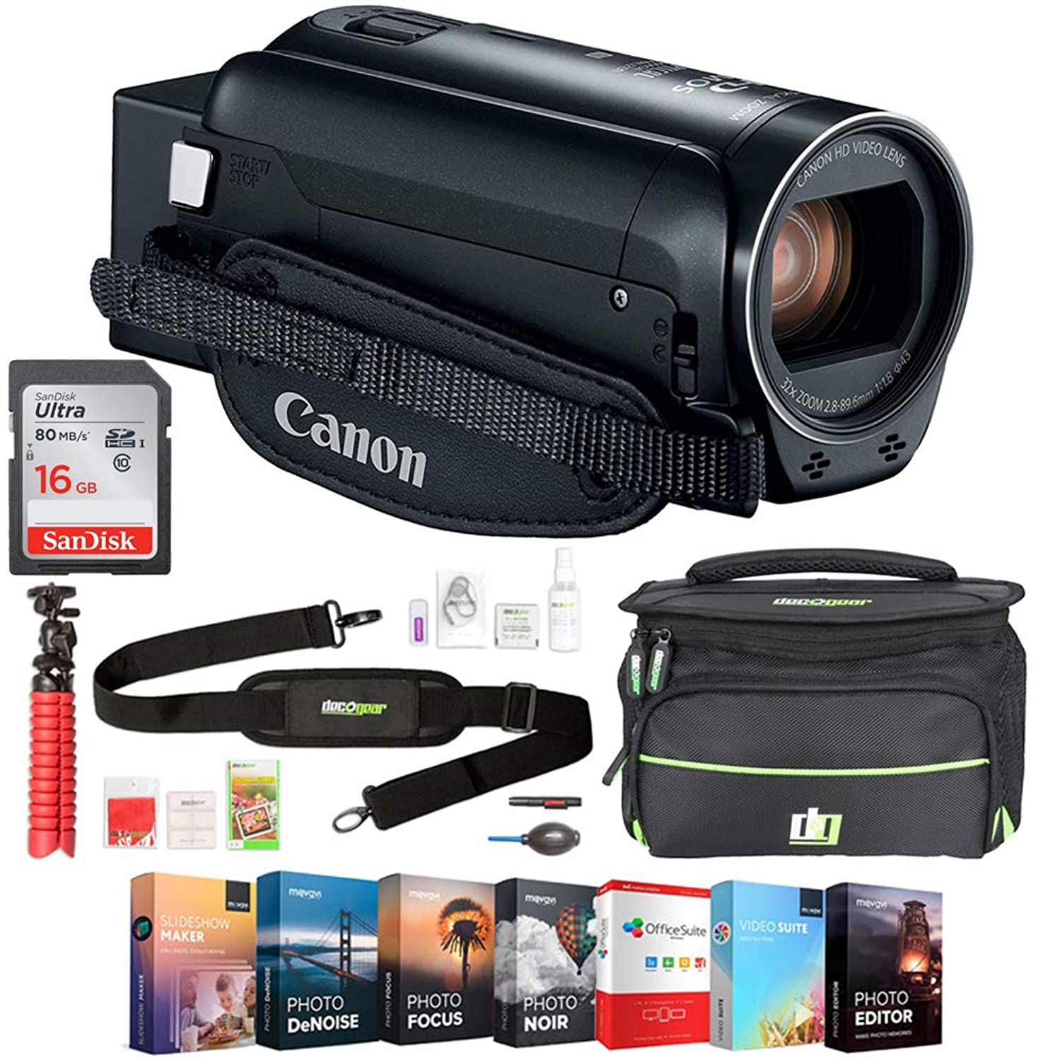 Canon VIXIA HF R82 Camcorder (1958C002) 3.8MP Full HD CMOS, 57x Advanced Zoom - Black w/Bundle Includes, Deco Gear Camera Bag (Medium) w/Accessory Kit, 16GB Memory Card & Professional Editing Suite