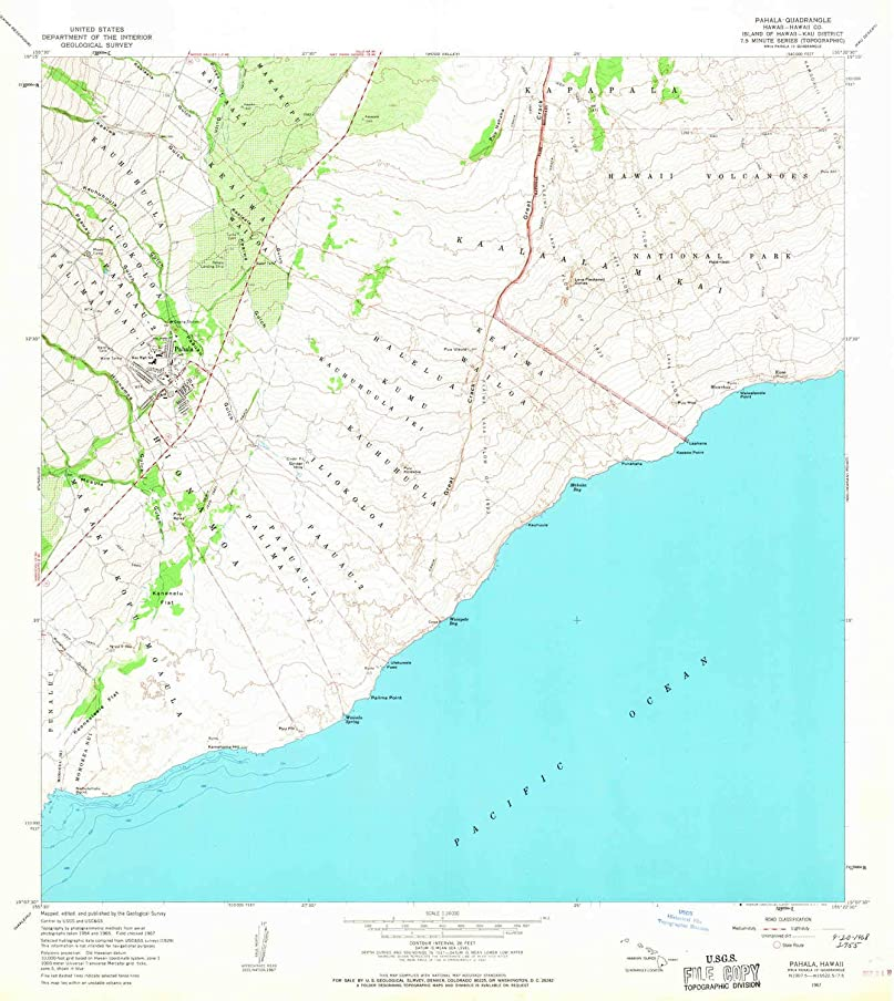 YellowMaps Pahala HI topo map, 1:24000 Scale, 7.5 X 7.5 Minute, Historical, 1967, Updated 1968, 26.9 x 24 in
