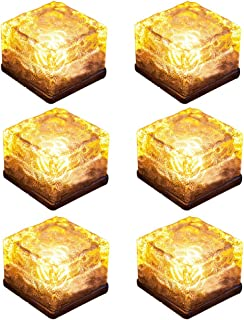 LOHOME Solar Glass Brick Lights - Pack of 6 Path LED Lights Outdoor Ice Cube Night Lamp for Garden Courtyard Pathway, IP67 Waterproof Christmas Festives Decorative Ice Rock Cube Lights (Warm)
