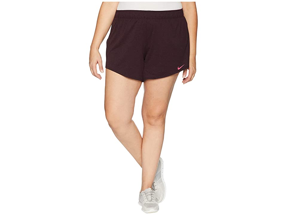 Nike Flex Attack TR5 Shorts (Size 1X-3X) (Burgundy Crush/Heather/Rush Pink) Women