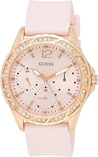 Guess Womens Quartz Watch, Analog Display and Silicone Strap W0032L9