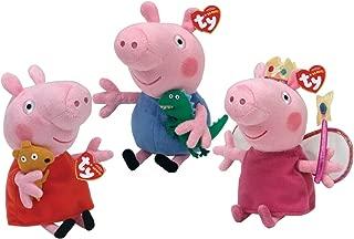 TY Beanie Babies - PEPPA PIG CARTOON (Set of 3 Peppa, Princess Peppa & George) (UK Exclusives)
