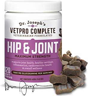 VetPro Complete Glucosamine for Dogs Soft Chews Maximum Strength with Chondroitin, MSM, Turmeric, Vitamin C, Omega 3 - Treats Hip Dysplasia, Arthritis, Pain for Hip and Joints