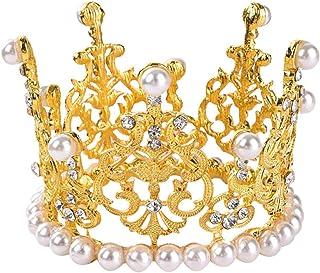 Petite couronne dorée de décoration de gâteau de mariage, décoration de gâteau vintage, couronne de perles pour fête d'ann...
