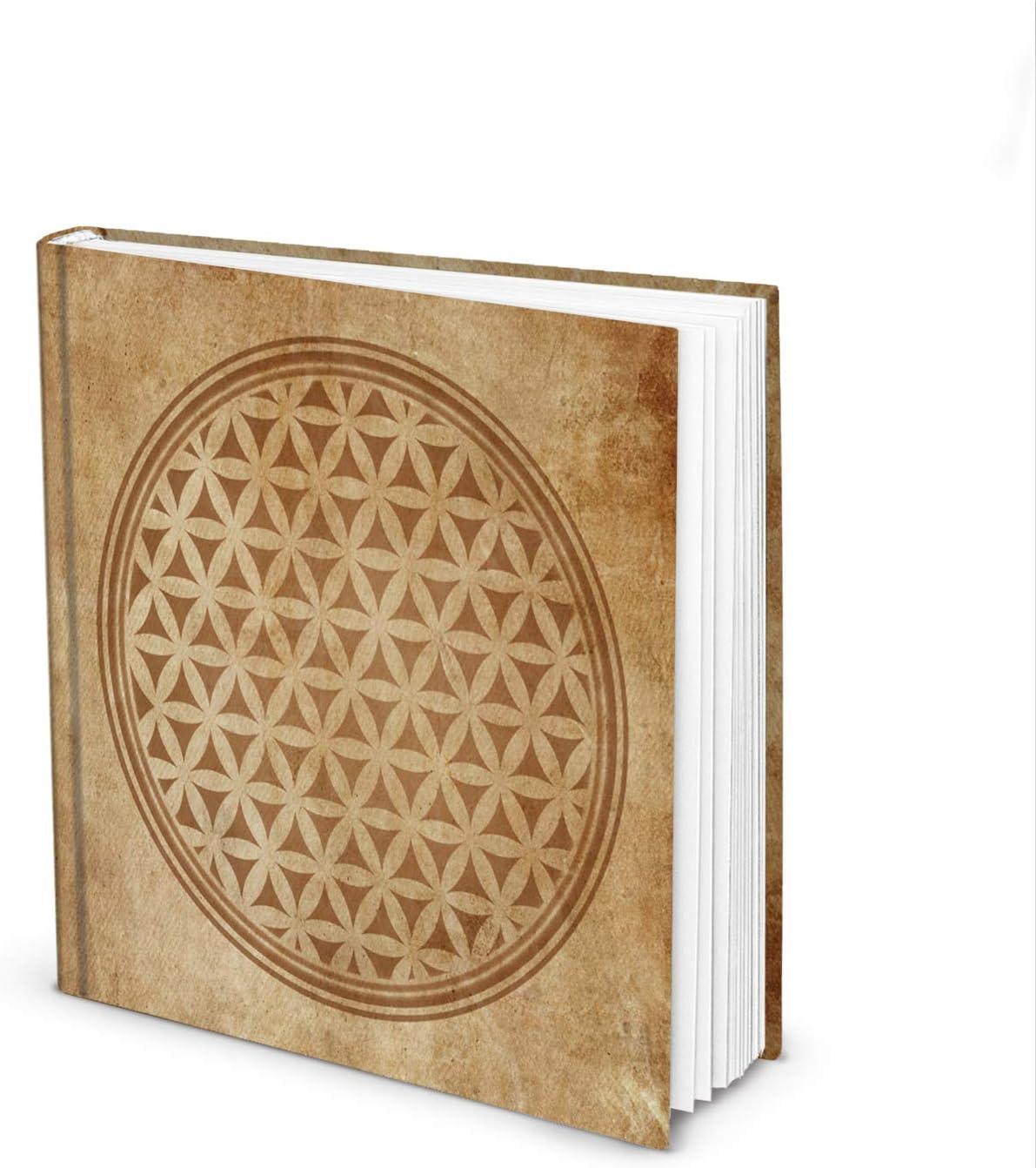 Logbuch-Verlag Libreta cuadrada con diseño de flor de la vida, en blanco, beige, marrón, 21 x 21 cm, estilo vintage, libro de visitas con flor de la vida
