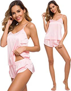 Womens Sexy Lingerie Silk Satin Pajamas Cami Shorts Set Sleepwear