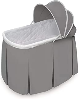 Badger Basket Cuddles Rocking Doll Bassinet (fits American Girl Dolls), Gray/White
