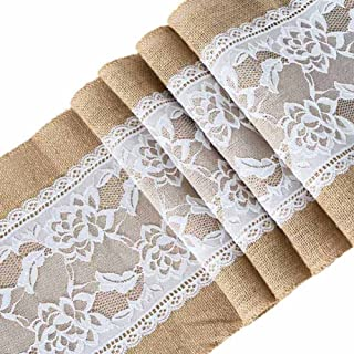 ARKSU 10Packs Burlap Table Runner with White Lace Trim 12 X 108 inch, No-fray Jute Hessian Vintage Rustic Natural Wedding Christmas Country Outdoor Decor
