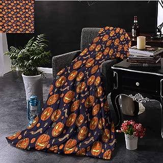 SSKJTC Halloween Blue Throw Blanket Different Pumpkin Faces Sofa Camping Reading Car Travel W60 xL50