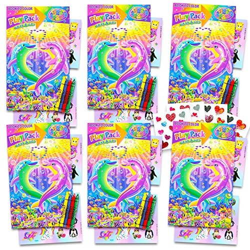 Lisa Frank Ultimate Party Favors Packs -- 6 Sets with Stickers, Coloring Books and Crayons (Party Supplies)