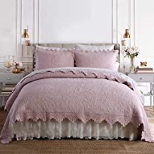 240×260CM Pink Reversible Bedspreads with 2 Pillow Shams Warm Coverlet Quilted Quilt Throw for Bed, 240 * 260CM