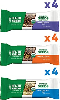 Health Warrior Organic Pumpkin Seed Protein Bars, Variety Pack, 8g Plant Protein, Gluten Free, Certified Organic, 12 Count
