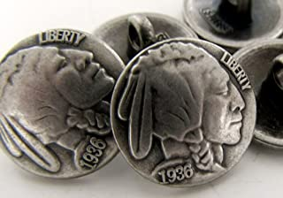 6 pcs Indian Head Nickel 1936 Reproduction Button Silver 5/8