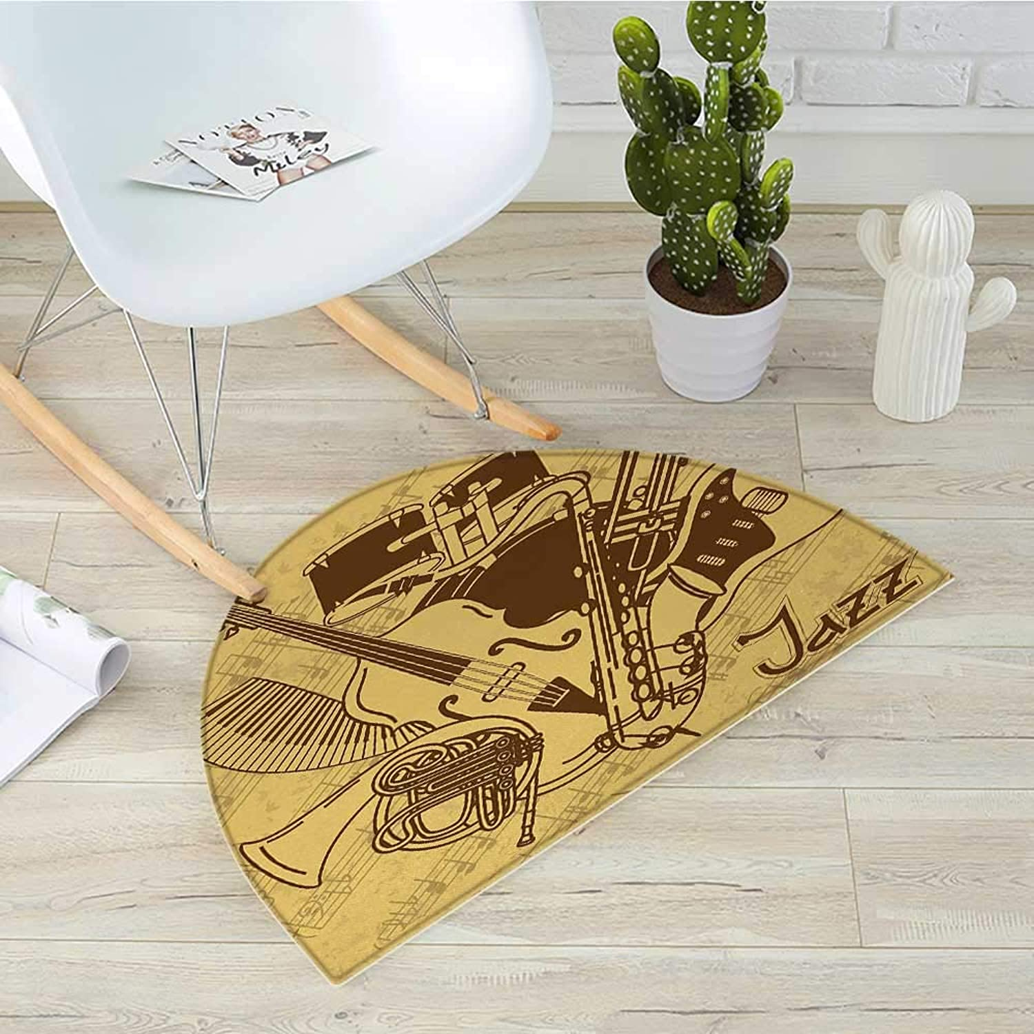 Music Semicircle Doormat Jazz Music Equipments with Vintage Background Retro Style Music Print Home Decor Halfmoon doormats H 39.3  xD 59  Cream Brown
