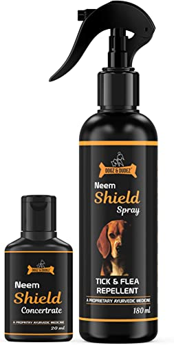 Dogz & Dudez Dog Tick and Flea Repellent Spray Neem Shield Treatment Spray for Dogs, Puppies, Cats with a Proprietary...
