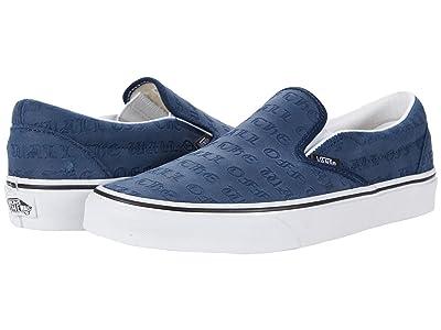 Vans Classic Slip-On ((Deboss OTW) Dress Blues/True White) Skate Shoes