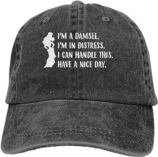 Genwo182nimas Man Woman's Unisex Adjustable I'm A Damsel I'm in Distress Funny Quotes Princess Adult Cowboy Cap Black