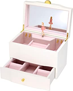 Attii Wooden Musical Jewelry Box for Girls with Drawer and Large Mirror, You are My Sunshine Tune (Blonde)