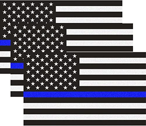 Reflective US Flag Decal Packs with Thin Blue Line for Cars & Trucks, 5 x 3 inch American USA Flag Decal Sticker Hono...