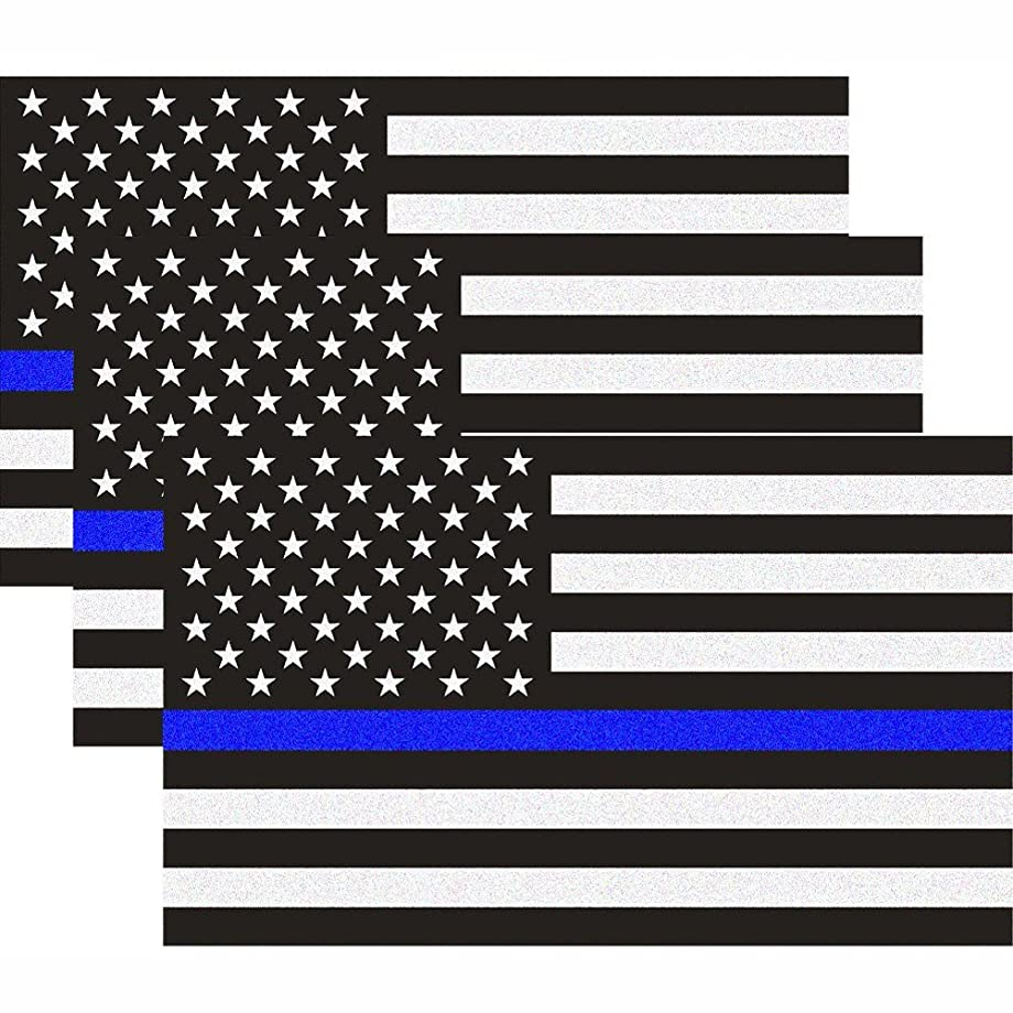 CREATRILL Reflective US Flag Decal Packs with Thin Blue Line for Cars & Trucks, 5 x 3 inch American USA Flag Decal Sticker Honoring Police Law Enforcement 3M Vinyl Window Bumper Tape (3-Pack)