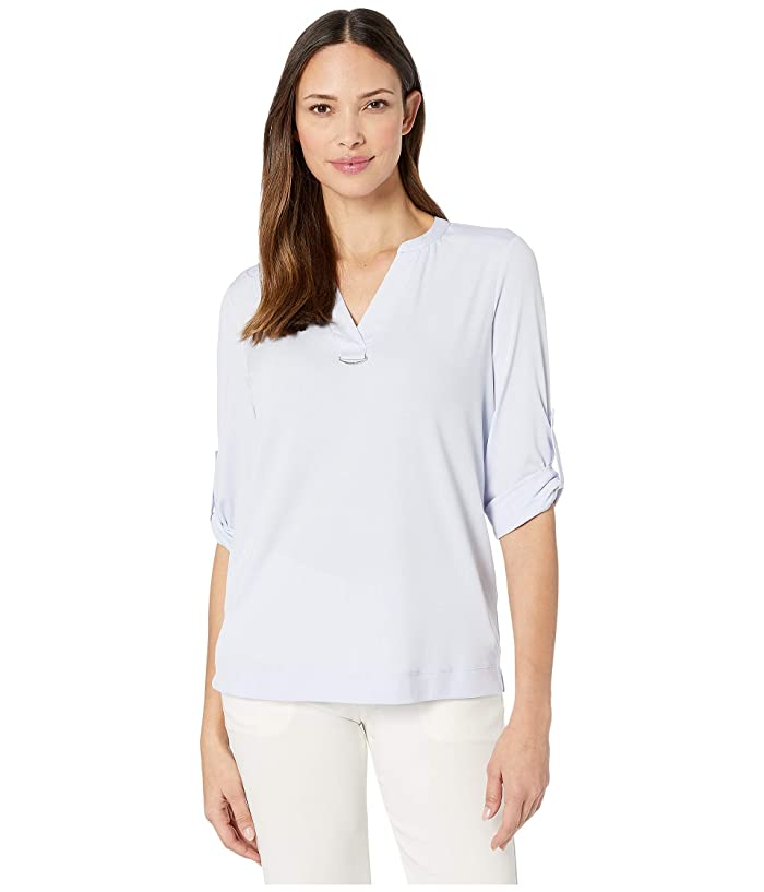 Calvin Klein  Roll Sleeve Top with Crepe De Chine (Cloud) Womens T Shirt