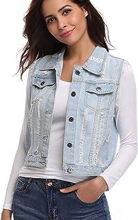 MISS MOLY Women's Denim Distressed Classic Vest Cotton