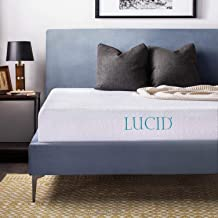 LUCID 10 Inch Gel Memory Foam Mattress with LUCID Encasement Mattress Protector - Twin