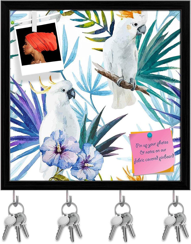 Artzfolio Tropic Parred Key Holder Hooks   Notice Pin Board   Black Frame 20 X 20Inch