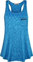 Hibelle Womens Active Racerback Pocket Casual Summer Yoga Workout Tank Tops