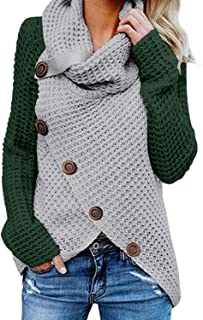Asvivid Women's Chunky Button Turtle Cowl Neck Asymmetric...
