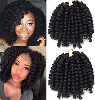Crochet Braids Hair 2X Ringlet Wand Curl 3 Packs 8 inch Jamaican Bounce Havana Mambo Twist Braiding Hair (1B)
