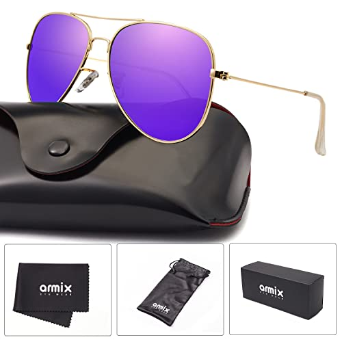 35d3c93fb3c ANMIX Aviator Polarized Sunglasses for Men   Women with Eyeglasses Case -  UV 400