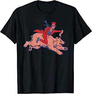 Abe Riding Bear Funny US 4th Of July Lincoln Patriot Gift T-Shirt