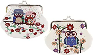 Oyachic 2 Packs Coin Purse Cute Christmas Owl Pattern Pouch Clasp Closure Clutch Wallet Bag Gift