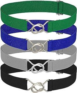 BKpearl 4 Pcs Kids Elastic Belt, Adjustable Stretch Belt with Buckle for Boys Girls