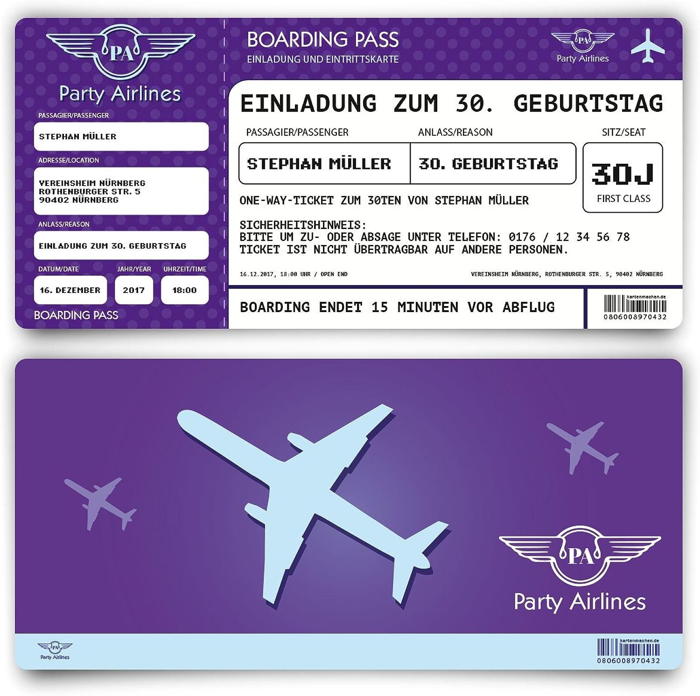 Einladungskarten zum Geburtstag (50 Stück) als Flugticket  Party Ticket Karte Einladung in purple