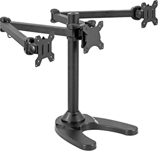 VIVO Triple LED LCD Computer Monitor Free Standing Desk Mount with Base | Heavy Duty Fully Adjustable Stand for 3 Screens up to 32 inches (STAND-V103F)
