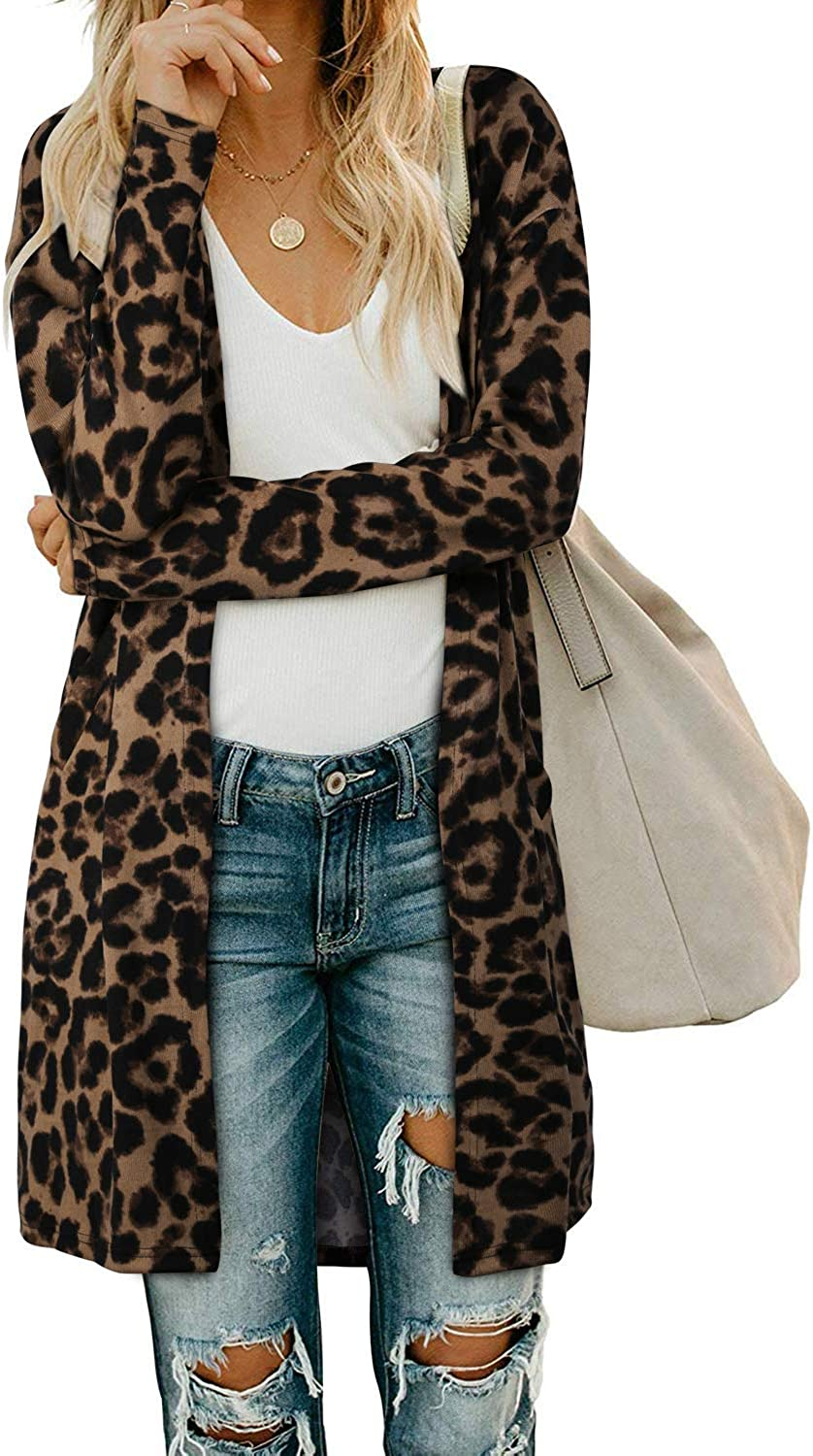 OUGES Women's Open Front Cardigan Shirt with Pockets Long Sleeve Lightweight Coat
