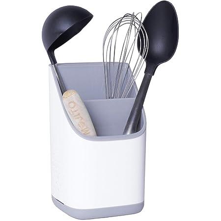 Cookenia Porte Ustensiles Cuisine – Rangement et Organisation de la Cuisine – le Pot Ustensiles Cuisine comme Organisateur d'Évier ou pour le Placard, Porte Couverts ou Porte-Eponge - Blanc/Gris
