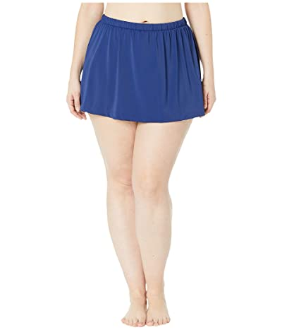Maxine of Hollywood Swimwear Plus Size Solids Separate Skirted Pant Bottoms (Navy) Women
