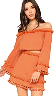 d89dc92a1 SheIn Women's 2 Piece Outfit Fringe Trim Crop Top Skirt Set