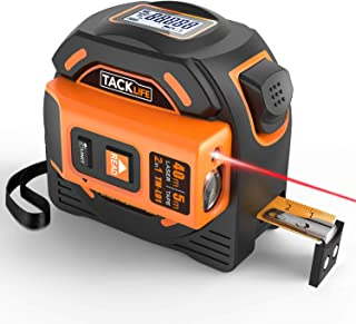 Laser Tape Measure 2-in-1, Laser Measure 131 Ft, Tape Measure 16 Ft Metric and Inches with LCD Digital Display, Movable Magnetic Hook, Screwdriver, Nylon Coating for DIY, Construction - TM-L01