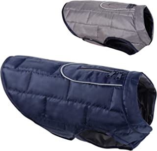 HAOCOO Dog Jacket, Reversible Dog Coat Waterproof Keep Warm in Cold Winter Dog Clothes Vest with Reflective Trim