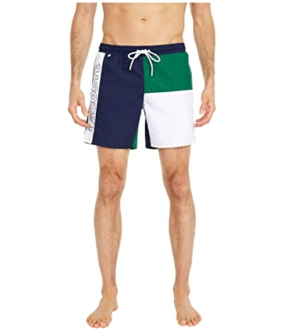 Lacoste Color-Block and Printed Mid Length Swim Trunks (Navy Blue/Green/White) Men