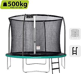 GREADEN Trampoline de Jardin Rond Freestyle Vert + Échelle Pack Plus Fitness extérieur 250/305/360/430 cm
