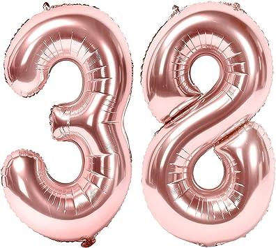 Oferta amazon: Siumir Globos de Numero Oro Rosa Número 38 Grande Globos de Cumpleaños Papel de Aluminio Globos Decoración de Fiestas de Cumpleaños Talla 38