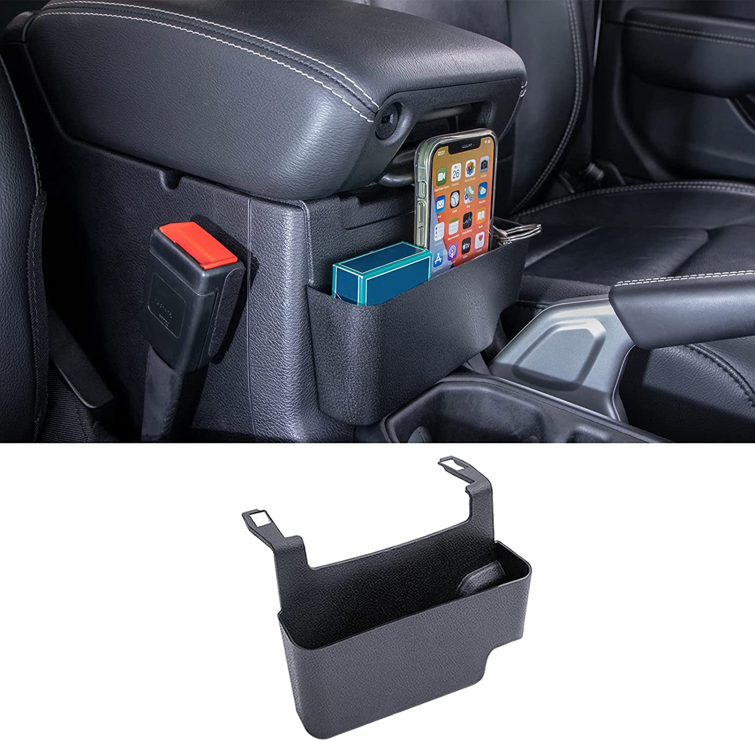 Center Console Hanging Box Compatible with Jeep Wrangler JL/JLU 2018 2019 2020 2021 and Jeep Gladiator JT Truck 2020 2021 Organizer Tray Armrest Storage Accessories (Not for JK/JKU)